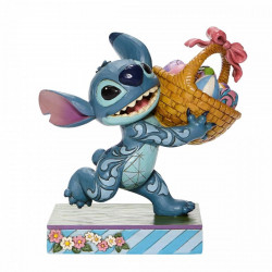 Figurine - Disney - Traditions - Stitch Running off with Easter Bakset - Enesco